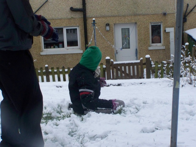 Kids having a snowball fight out front of my house.