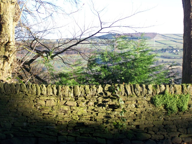 Stone wall down to town.