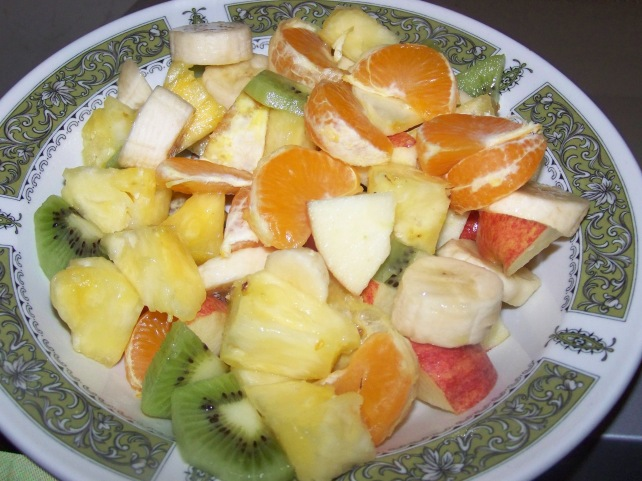 A simple fruit salad that the kids and I had Tuesday.  This was due to local supermarket have a great deal on exotic fruit this week.