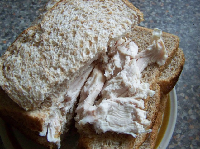 Today's Lunch just plain roast chicken on dry bread.