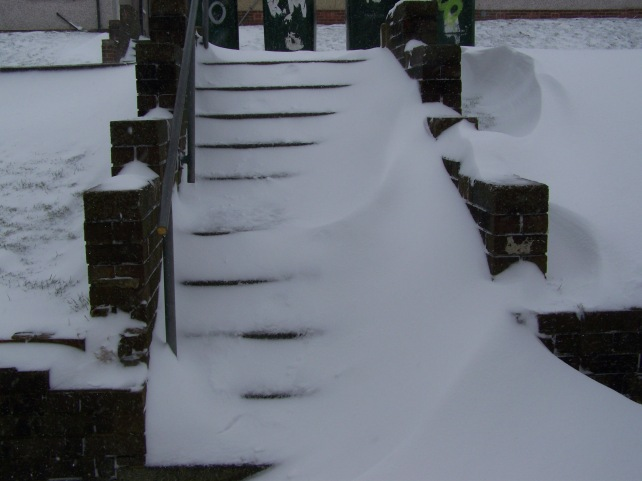 Snow on the main stairs