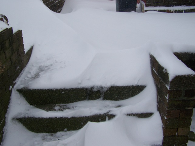 Snow on the small steps