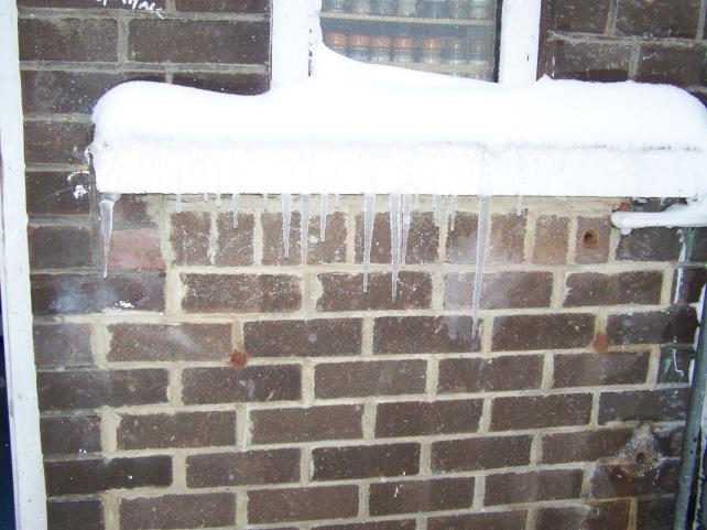 Ice on my little kitchen window