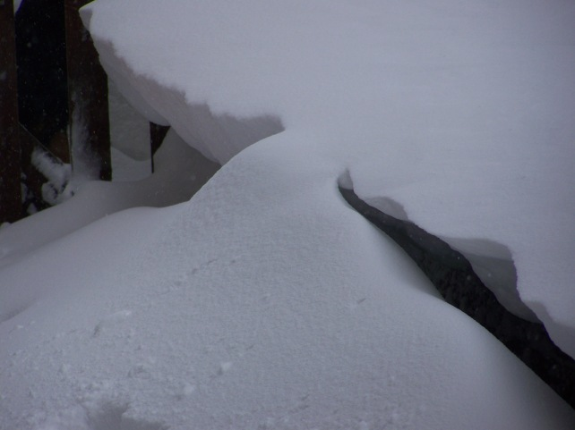 Snow drifted up to 4 foot here joined the over hang