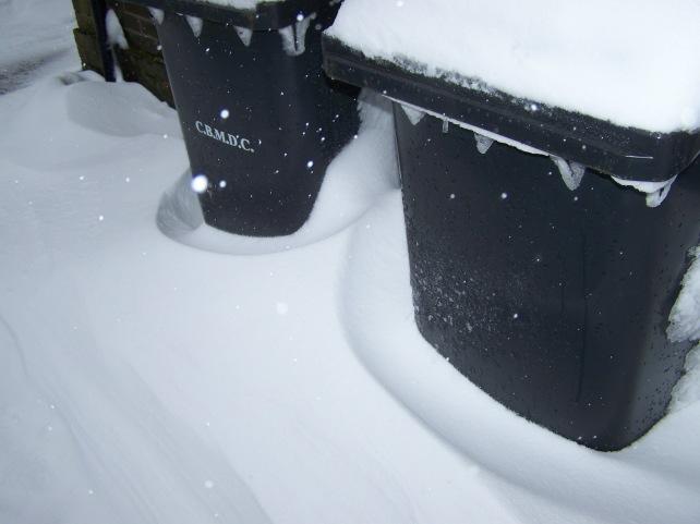Snow drifting around my bins